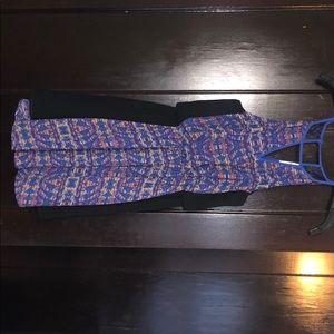 Blue patterned sleeveless dress, Lush, size Small